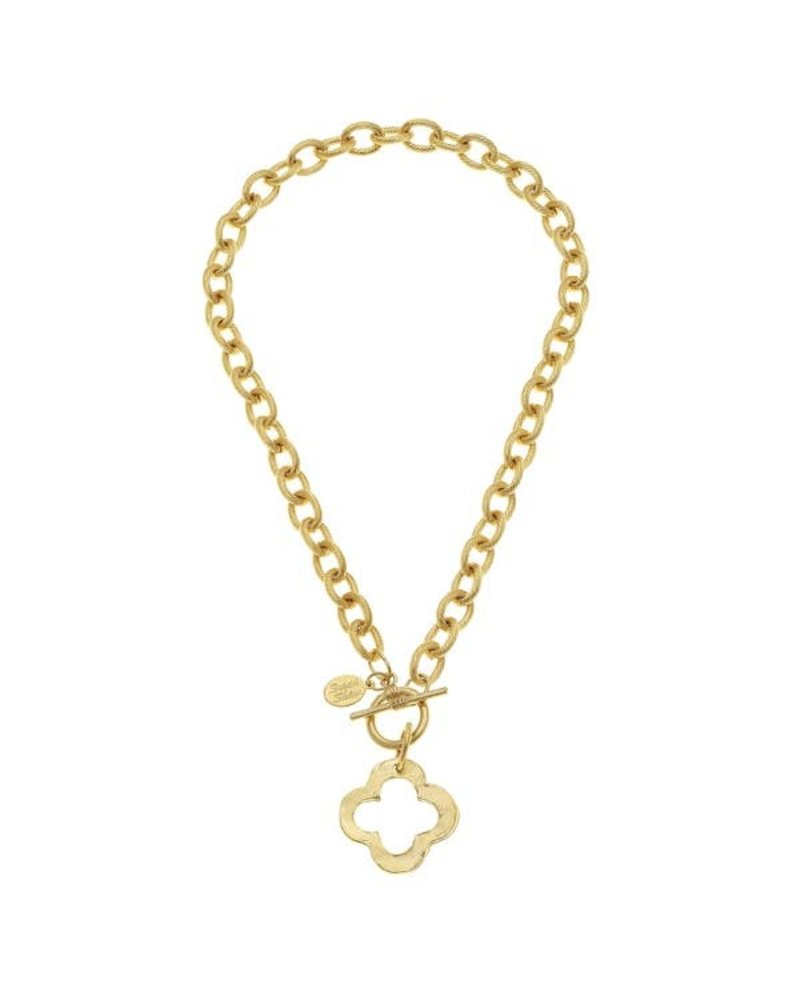 Susan Shaw Gold Clover Front Toggle Necklace