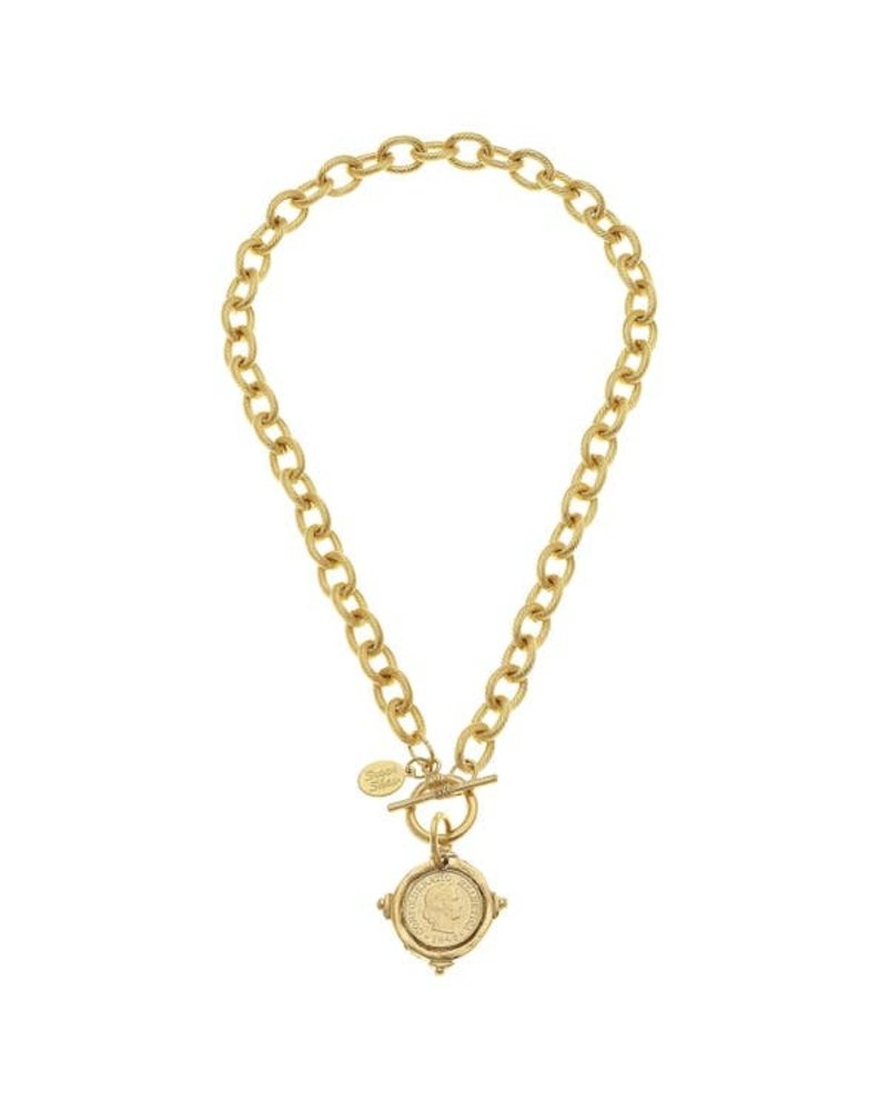 Susan Shaw Handcast Gold Intaglio Coin Front Toggle Necklace