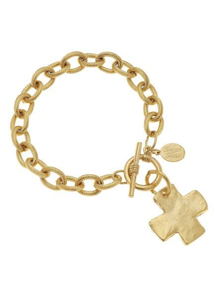 Susan Shaw Gold Cross Toggle Bracelet