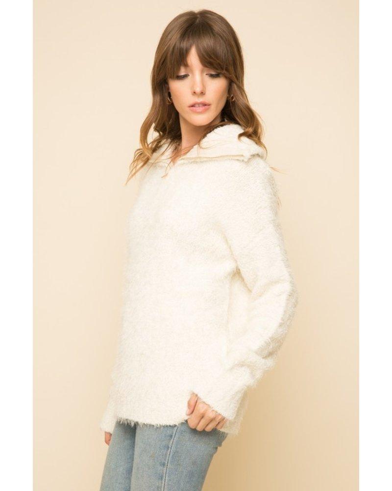 Mystree Cream Cozy Half Zip Pullover Sweater