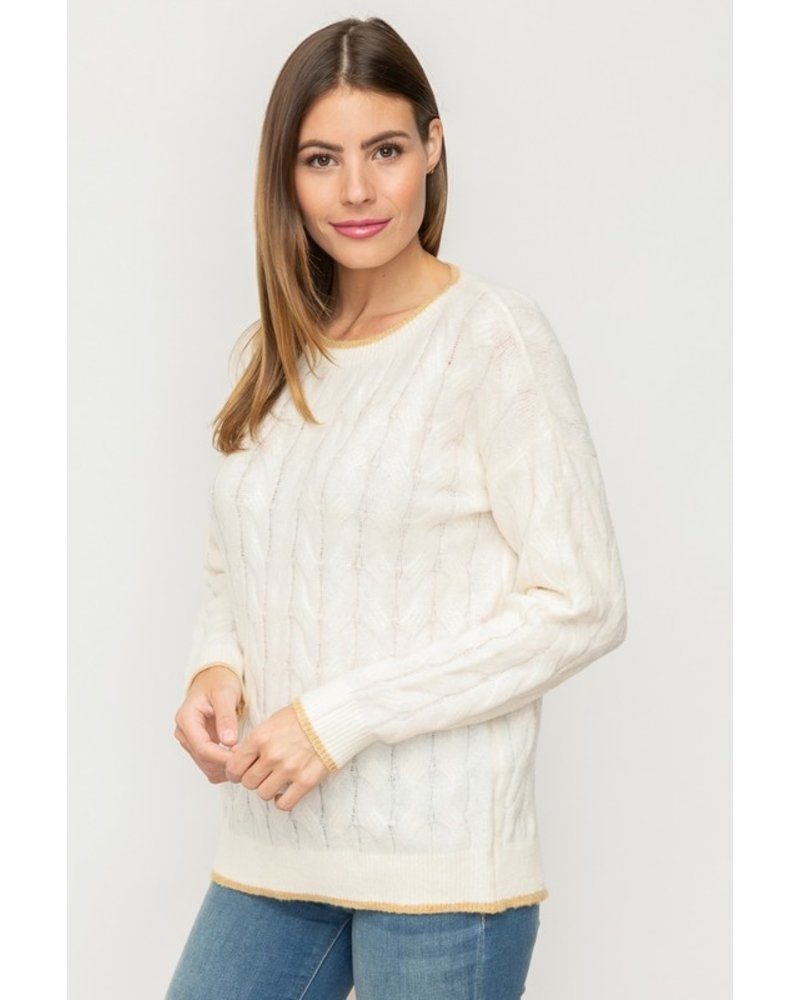 Mystree Cream & Taupe Cable Knit Sweater