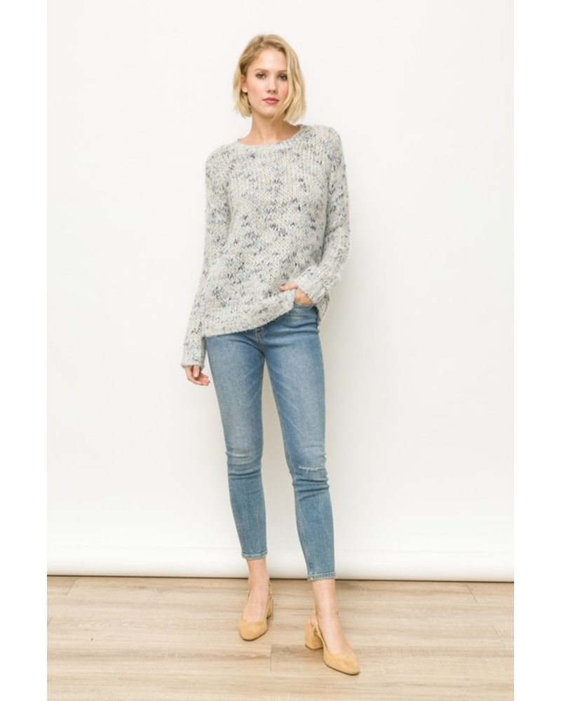 Mystree Grey Blend Textured Sweater