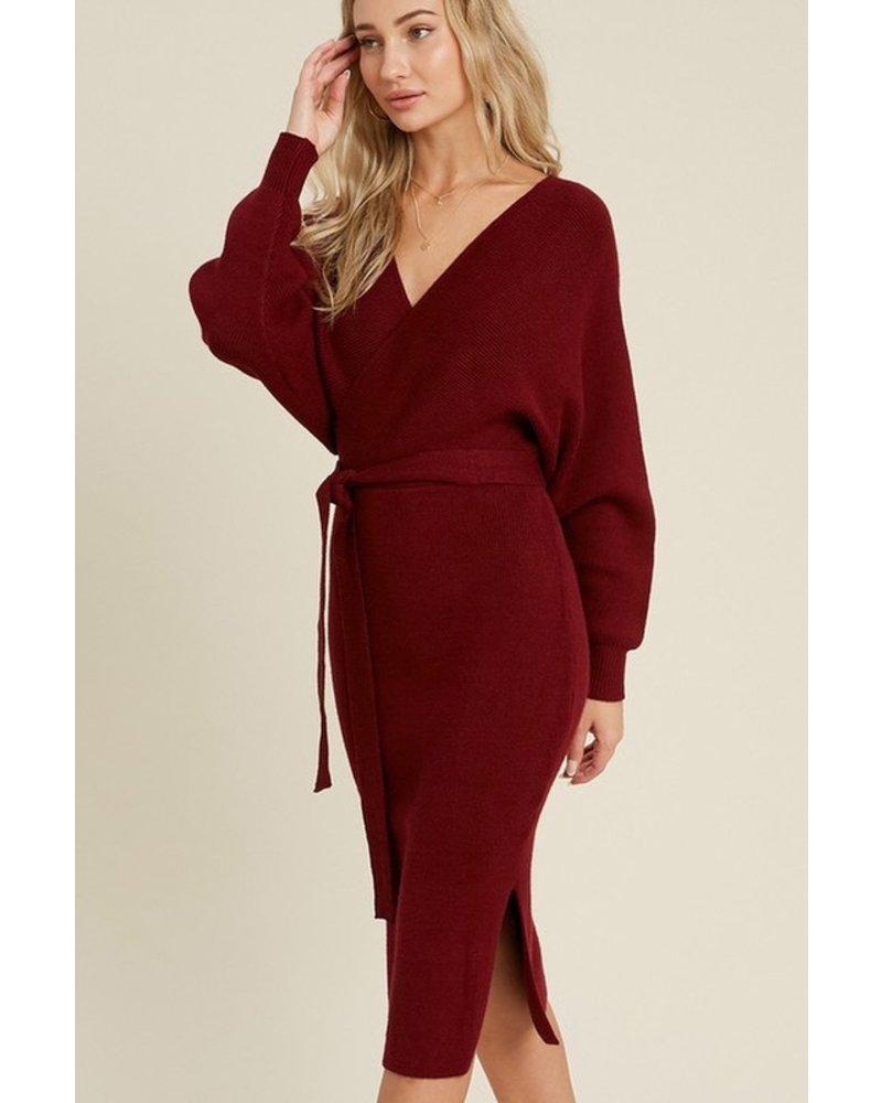 Trend Shop Fox Wine Belted Sweater Dress