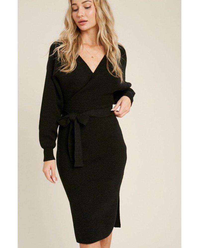 Trend Shop Fox Black Belted Sweater Dress