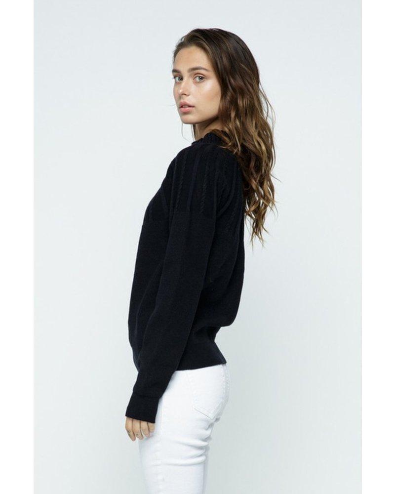 Trend Shop Black Cable Stripe Mock Neck Sweater