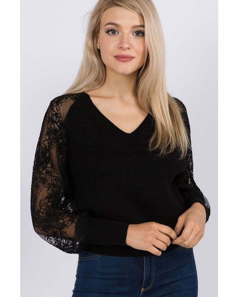 Trend Shop Black Lace Sleeve Pullover Sweater