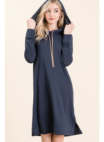 Trend Shop Navy West French Terry Hooded Dress