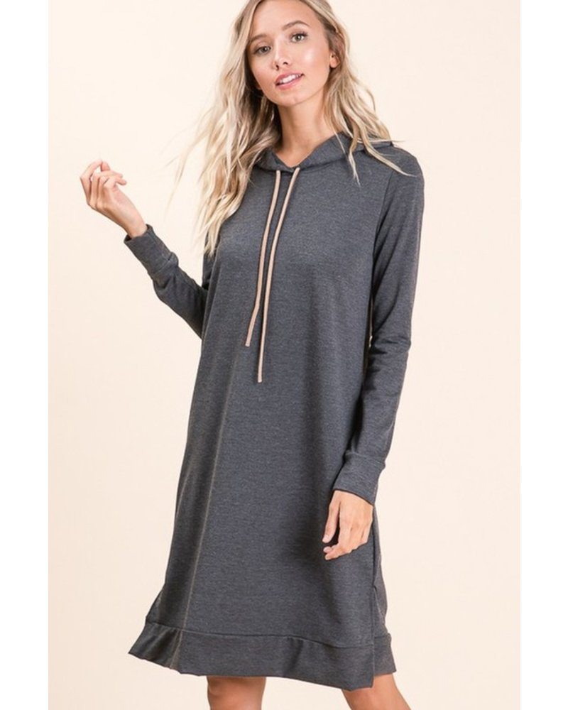 Trend Shop Charcoal West French Terry Hooded Dress