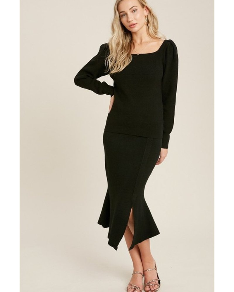 Trend Shop Annie Flair Sweater Skirt - Black