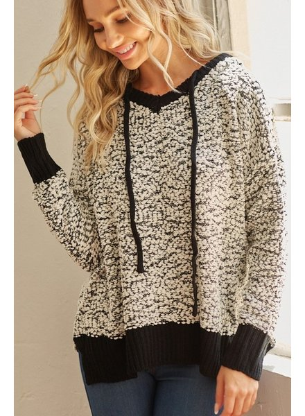 Trend Shop Black & White Popcorn Sweater W/Hood