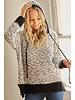 Trend Shop Black & White Popcorn Sweater W/Hood
