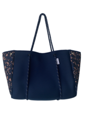 Ahdorned Navy Leopard Neoprene Tote