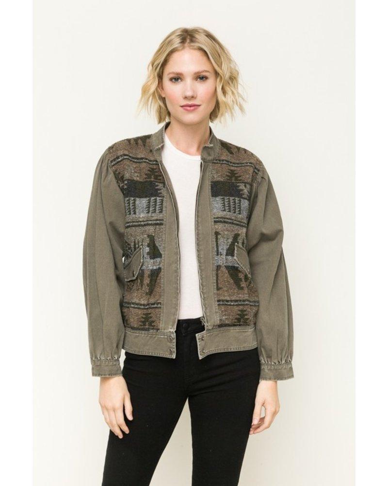 Mystree Jacquard front twill jacket