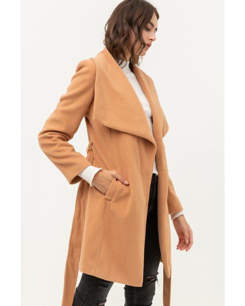 Trend Shop Petra Tie Waist Long Coat - Camel