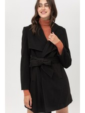 Trend Shop Petra Tie Waist Long Coat - Black