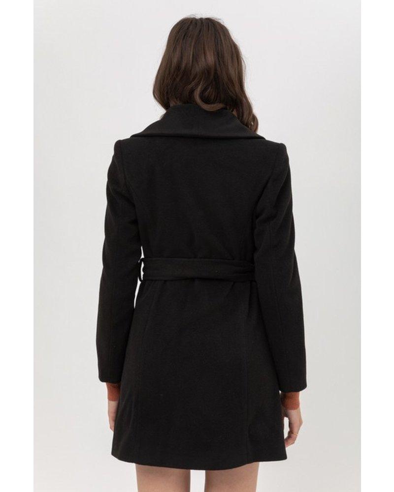 Trend Shop Petra Tie Waist Long Coat - Black