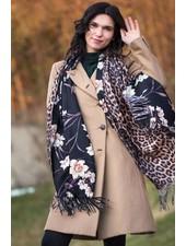 Saachi Black Floral Cheetah Reversible Scarf