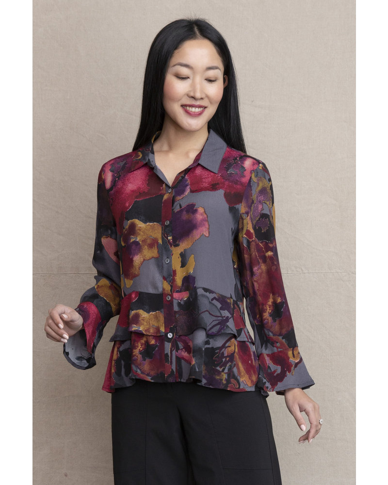 Habitat Autumn Floral Double Flounce Top