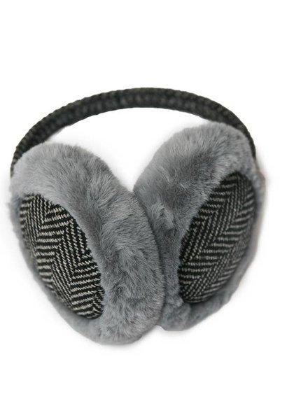Top It Off Mallory Grey Herringbone Earmuff