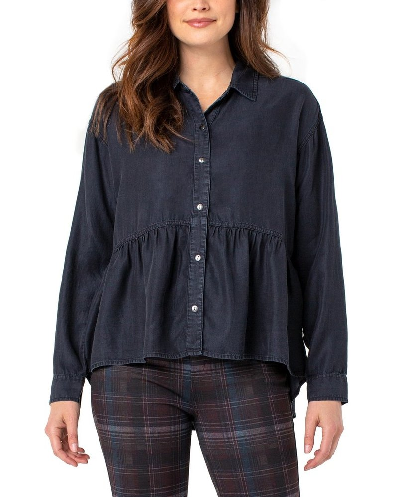Liverpool Nebula Crop Peplum Button Up Shirt