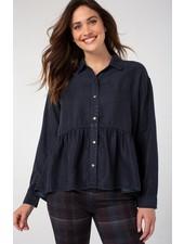 Liverpool Nebula Crop Peplum Button Up Shirt