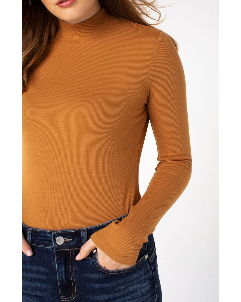 Liverpool Mock Neck Long Sleeve Rib Knit