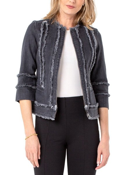Liverpool Dusty Grey Zip Front Jacket With Frayed Details