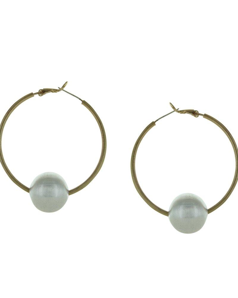 Takobia Gold Hoop w/Silver Ball