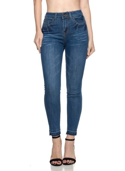 G-Gossip Apparel Indigo Wash Cropped Jeans