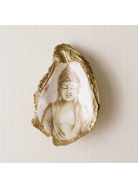 Grit & Grace Studio Serenity Buddha Decoupage Oyster Ring Dish