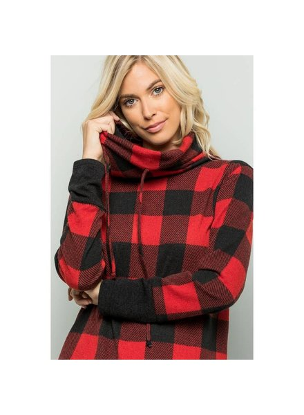 Sweet Lovely by Jen Red & Black Plaid Pullover