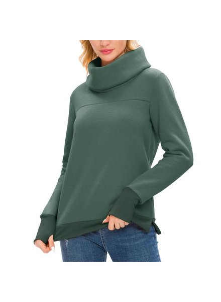 Asher And Emery Green Long Sleeve Cowl Neck Pullover w/Back Pleat