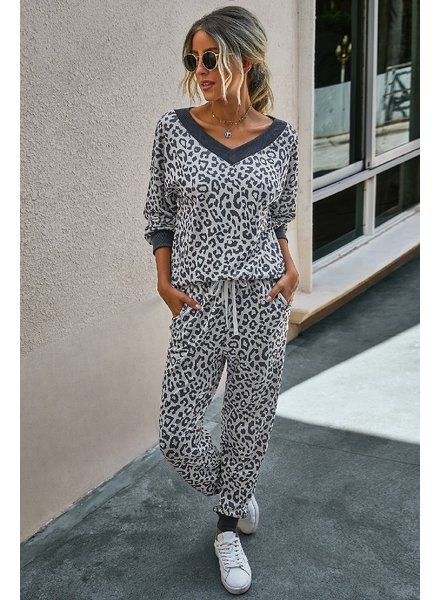 Mountain Valley Trading Charcoal Leopard V-Neck Loungewear Set