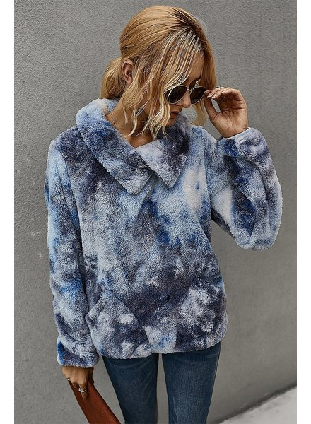 Mountain Valley Trading Navy Faux Fur Pullover