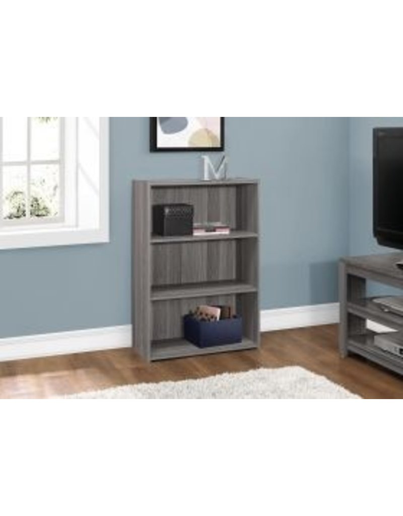 Bookcase 36 H With 3 Shelves Grey