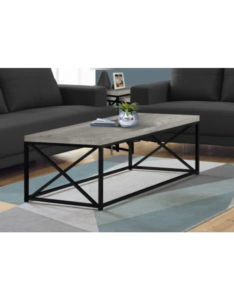 Picture of: Coffee Table Black Metal Base Grey Reclaimed Wood Maison Caplan