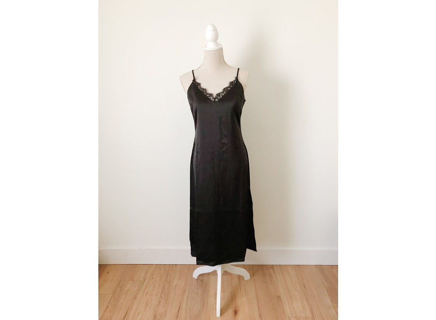 Luxe Black Slip Dress