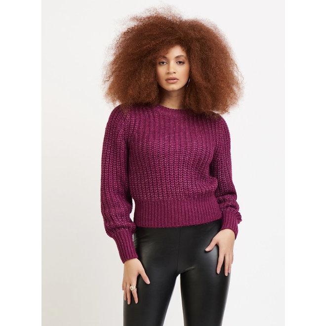 Brianna Open Stitch Magenta Sweater