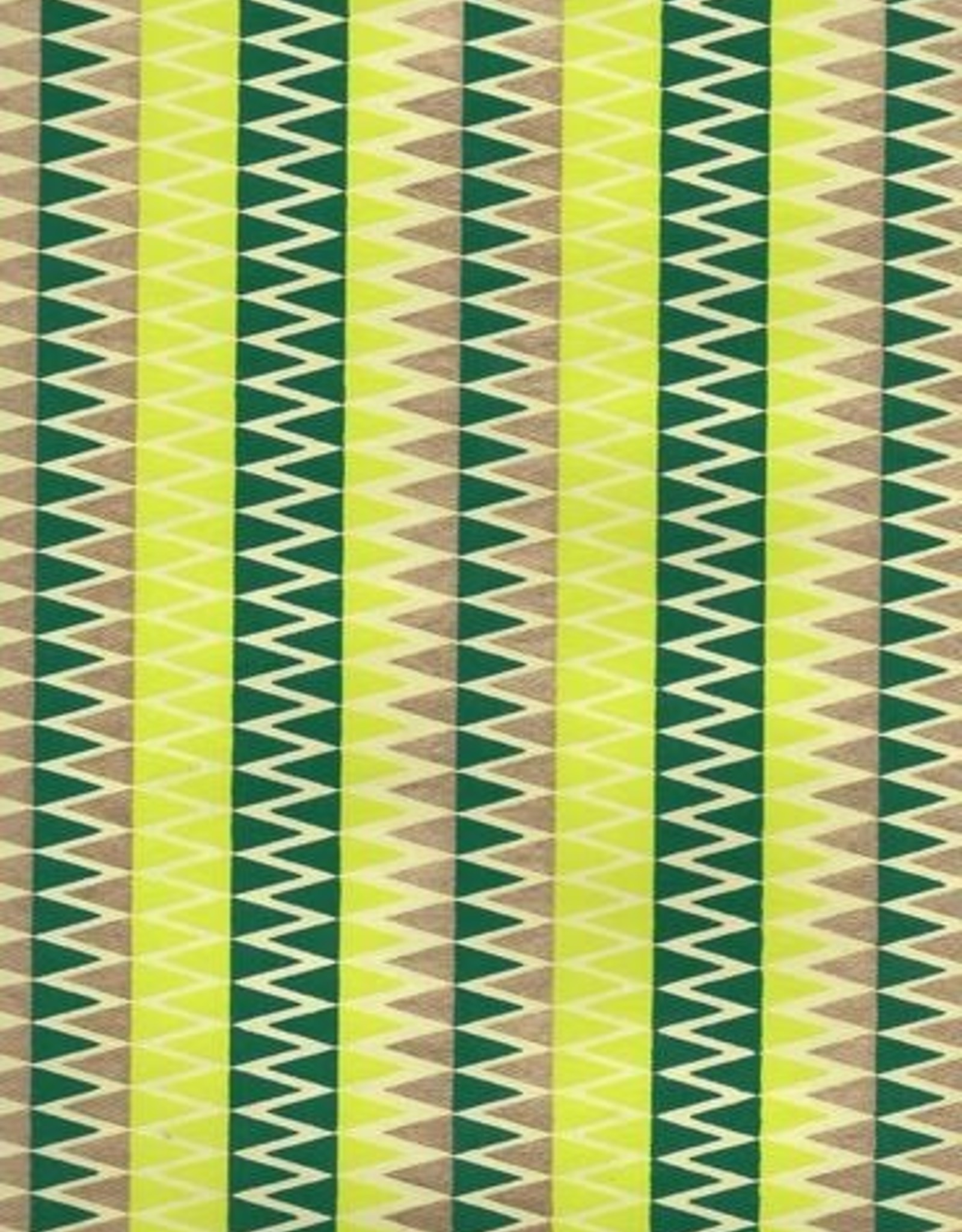 """Zig Zag with Stripes, Evergreen, Gold on Lime Green, 22"""" x 30"""""""