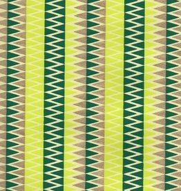 "India Zig Zag with Stripes, Evergreen, Gold on Lime Green, 22"" x 30"""