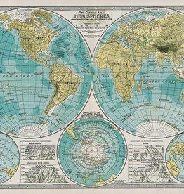 "Cavallini Hemisphere Map, Poster Print, 20"" x 28"""