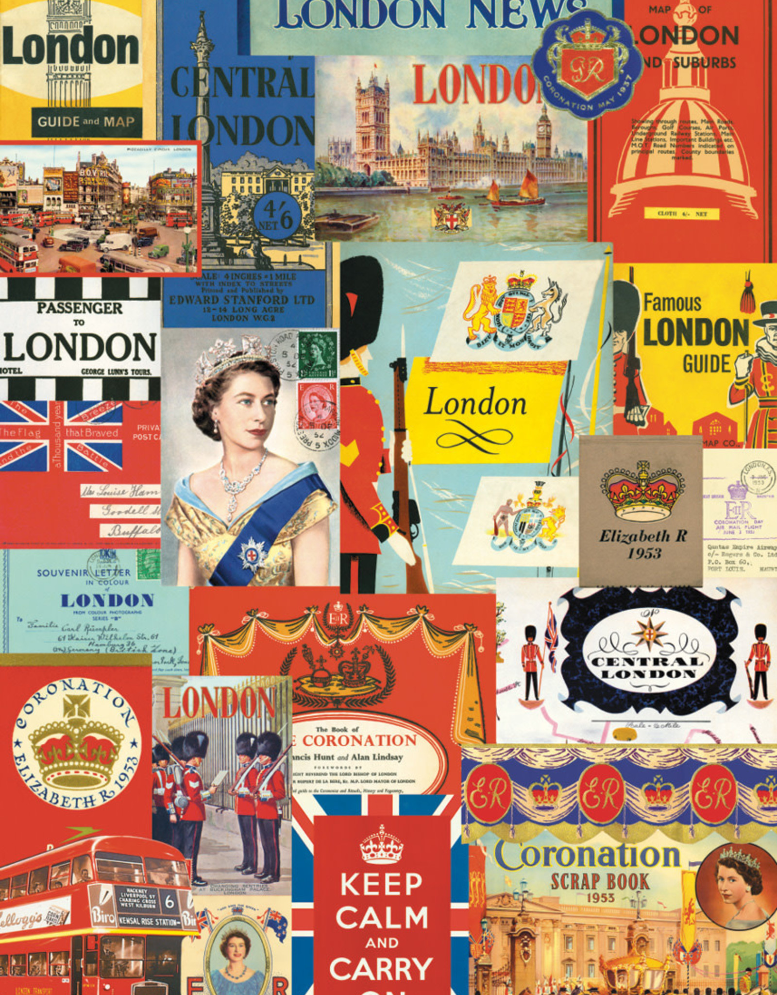 "Cavallini London Postcards, Cavallini Poster Print, 20"" x 28"""