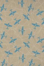 "Airplanes Blue on Beige, 19"" x 27"""