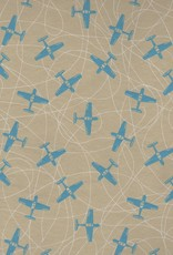 """India Airplanes Blue on Beige, 19"""" x 27"""""""