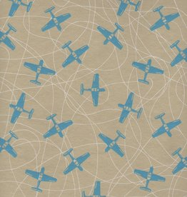 "Airplanes Blue on Beige, 19"" x 27"""