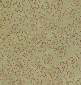 "Lokta Cherry Blossoms on Sage, 20"" x 30"""