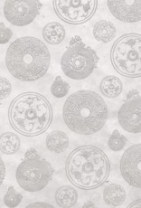 """Lokta Coins, Silver on White, 20"""" x 30"""""""