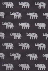 """Lokta Elephants on Black, 20"""" x 30"""""""