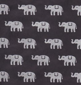 "Lokta Elephants on Black, 20"" x 30"""