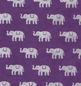 "Lokta Elephants on Violet, 20"" x 30"""